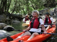 Director of the National park Service, Fran Mainella (2001-2006), kayaking on Whiskeytown Reservoir